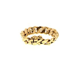BRACELET: [1] 14ky stamped Cuban link bracelet, 9 inches long, 18.58mm wide; 198.3 grams.
