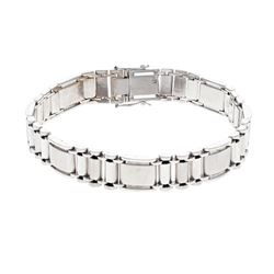 "BRACELET: [1] Men's 18kw fancy link bracelet; 11.36mmW x 2.80mmT x 8.5"" long; 54.98 grams."