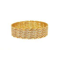 BRACELET: [1] Lady's 22kt flat bangle bracelet; partially white plated; 17.22mmW x 2.4  OD, round sh