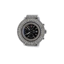 WATCH: [1] Steel Breitling Super Avenger 300M watch with aftermarket diamonds, steel bracelet, mothe