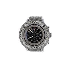 WATCH: [1] Steel Breitling Super Avenger 300M watch with aftermarket diamonds, steel bracelet, mothe