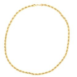 "NECKLACE: [1] 10kt yellow gold rope necklace, 6.5MM wide, 28"" long; 140.6 grams"