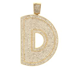 "PENDANT: [1] 10kt yellow gold ""D"" diamond pendant set with approximately (769) round diamonds estima"