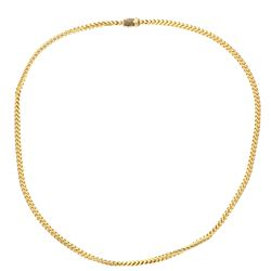 CHAIN: [1] 14KYG solid Franco square link chain, 36 inch, 6.0mm, 121 black diamonds, 1.00 ct. TWA, 2