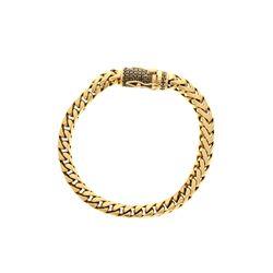 BRACELET: [1] 14KYG solid Franco square link  bracelet, 8 inch, 6.1mm width, 121  black diamonds, 1.