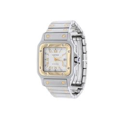 WATCH: [1] Stainless steel and 18 karat yellow gold gents Cartier Santos Square Automatic 2319 watch