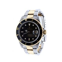 WATCH: [1] Stainless steel and 18 karat yellow gold gents Rolex Oyster Perpetual Submariner watch wi