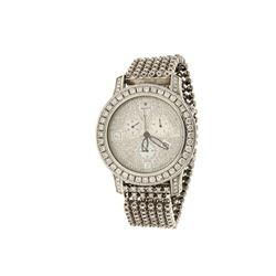 WATCH: [1] Stainless steel Rayalty watch with aftermarket diamonds; 46mm case, steel bracelet, three