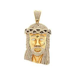 PENDANT: [1] 10k yellow gold Jesus pendant; (449) round brilliant cut diamonds, 1.3mm-2.0mm = an est