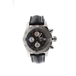 WATCH: [1] Stainless steel gents Breitling Avenger II Automatic Chronograph watch with a dark gray d