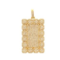PENDANT: [1] 14KYG  rectangular shape pendant, pave set with total of 493 diamonds, 7.50 cts. TWA.,