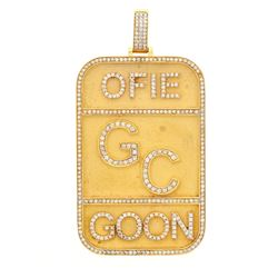 "PENDANT: [1] 14KYG pendant ""OFIE GC GOON""  raised diamond letters, diamond frame, total 379 rbc diam"