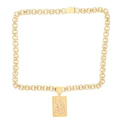 NECKLACE: [1] 14k yellow gold necklace with mother and child pendant, 24 inches long, 2 inch pendant