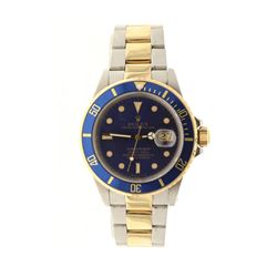 WATCH: [1] Man's S/Steel & Y/G Rolex Oyster Perpetual Submariner, metallic blue dial, blue rotating
