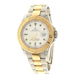 WATCH: [1] Man's S/Steel & 18KYG Rolex Oyster Perpetual Yachtmaster Date watch, white dial dot marke