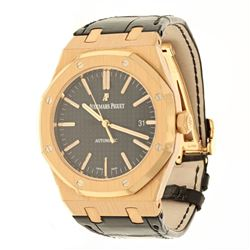 WATCH: [1] 18KRG Audemars Piguet Royal Oak Date watch, black dial, rose gold stick markers, automati