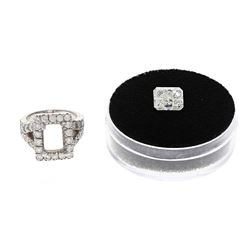 RING: Platinum (tested) ring; (1) radiant dia, 9.84mm x 7.86mm x 5.81mm, 4.00 carats, H/SI2, GIA Rep