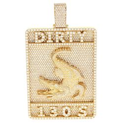 PENDANT:  [1] 14 karat yellow gold 'DIRTY 130's' alligator pendant set with round diamonds, approx.