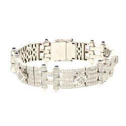 BRACELET: [1] 18 karat white gold tested bracelet, 8.5 inches long; (416) round brilliant diamonds,