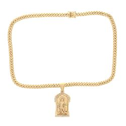 "NECKLACE & PENDANT: [1] 14kt yellow gold Cuban link necklace, 9.30MM, 28""; [1] 14kt yellow and white"