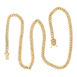 "NECKLACE: [1] 14kt yellow gold Cuban link necklace, 7.5MM wide, 30"", Double safety clasp; 122.8 gram"