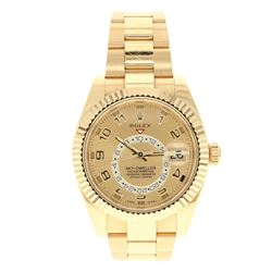ROLEX: 18ky Rolex Skydweller watch; 42mm case, white dial, fluted bezel, 40 jewel annual calendar, o