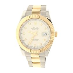 WATCH: [1] Man's 18KYG & S/Steel Rolex Oyster Perpetual  Datejust II Superla, cream color  diamond d