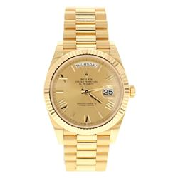 WATCH: [1] 18KYG Man's Rolex Oyster Perpetual Day/Date II, 41mm case, 31 jewel, 18KT fluted bezel, w