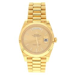 WATCH: [1] 18 karat yellow gold gents Rolex Oyster Perpetual Day-Date President 40mm watch with a ch