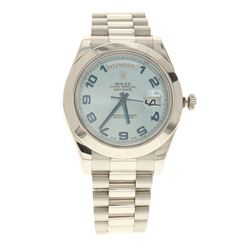 WATCH: [1] Man's Platinum Rolex Oyster Perpetual Presidential II Day/Date light blue dial, blue Arab