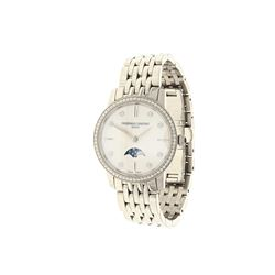 WATCH: [1] Lady's S/Steel mid size Frederique Constant Depose watch, MOP dial, 67 diamond bezel, moo