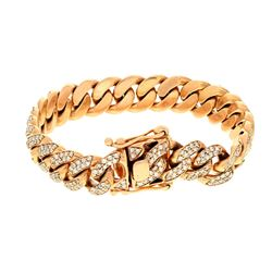 BRACELET: [1] 10KRG Cuban link bracelet, hidden clasp, 8 inch, 11.8mm width, 484 rbc diamonds,     7