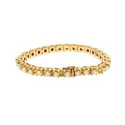 BRACELET: [1] 14KYG diamond bracelet, 7 3/4 inch,       6.0mm width, hidden clasp double figure 8 sa