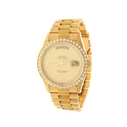 ROLEX: 18ky Rolex Oyster Perpetual DayDate President watch, 36mm case, gold dial with roman numerals