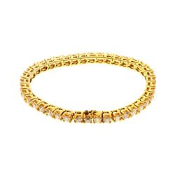 BRACELET: [1] 14 karat yellow gold tennis style bracelet set with 40 round diamonds, approx. 8.00 ca