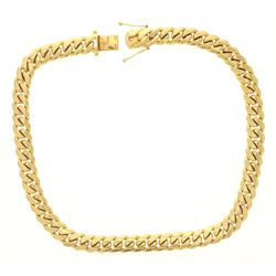 CHAIN: [1] 18ky stamped Cuban link chain; 24 inches long, 16.15mm wide, box clasp w/ 2 safety clasps