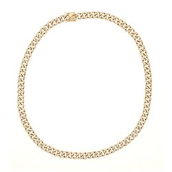 "NECKLACE: [1] 14kt yellow gold curb link necklace set with clear synthetic stones; 30"" long x 0.5"" w"