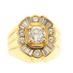 RING: 14k yellow gold ring, size 7; (1) round brilliant cut diamond, 6.26mm x 6.26mm x 4.02mm = an e
