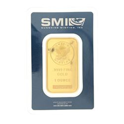 BULLION: One troy ounce fine gold bar; Serial Number A024573.