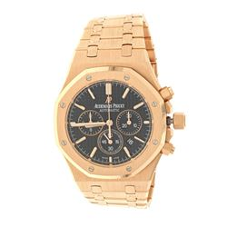 WATCH: 18k rose gold Audemars Piguet Royal Oak Chronograph 50M watch; 41mm case, black dial with 3 s