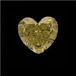 LOOSE DIAMOND: One (1) loose Heart cut diamond, 15.21mm x 14.02mm x 7.60mm = 12.20 carat, Fancy Inte