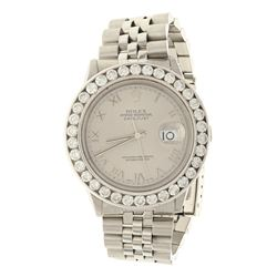 WATCH:  [1] Stainless steel gents Rolex Oyster Perpetual Datejust watch with a silver Roman dial and