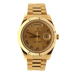 ROLEX: 18k yellow gold Rolex Day Date II president watch; 41mm case, fluted bezel, gold dial with ro