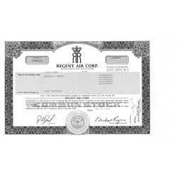 COLLECTIBLE CERTIFICATE: 10,000 shares of Regent Air Corp stock registered owner name Bernard L Mado