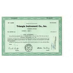 COLLECTIBLE CERTIFICATE: 100 shares of Triangle Instrument Co Inc stock registered owner name Bernar