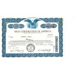 COLLECTIBLE CERTIFICATE: 500 shares of Hico Corporation of America stock registered owner name Berna