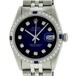 Rolex Mens Stainless Steel Blue Vignette Diamond & Sapphire Datejust Wristwatch