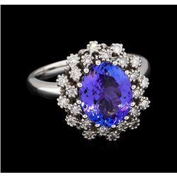 2.96 ctw Tanzanite and Diamond Ring - 14KT White Gold