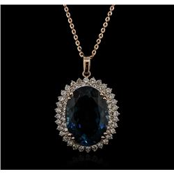 14KT Rose Gold 35.04 ctw Topaz and Diamond Pendant With Chain