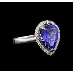 14KT White Gold 3.76 ctw Tanzanite and Diamond Ring